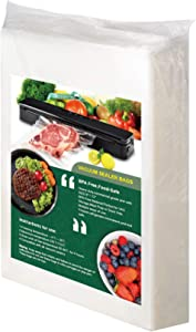 [Upgraded Version ] Vacuum Sealer Bags, 100 Quart 8x12 Inch for Food Saver, Heavy Duty Commercial Grade Vac Seal a Meal Bags, Premium Pre-Cut Bag, Perfect for Vac Storage, Meal Prep or Sous Vide, With 40 Removable Freezer Labels