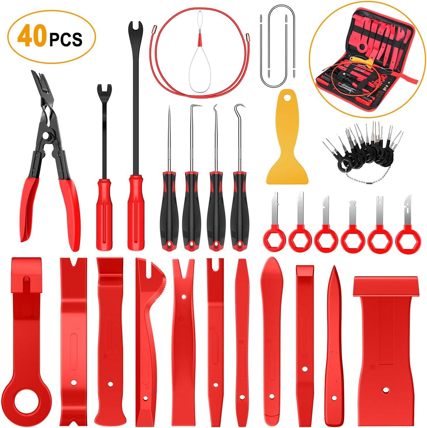 GOOACC 40Pcs Trim Removal Tool,Auto Terminal Removal Key Tool,Auto Clip Pliers Stereo Removal Tools,Car Upholstery Repair Pry Kit,Precision Hook and Pick Set,Wiring Threader,Car Film Scraper