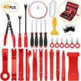 GOOACC GRC-92 40Pcs Trim Terminal Key, Auto Clip Pliers Stereo Removal Tools, Upholstery Repair Pry Kit,Precision Hook and Pi