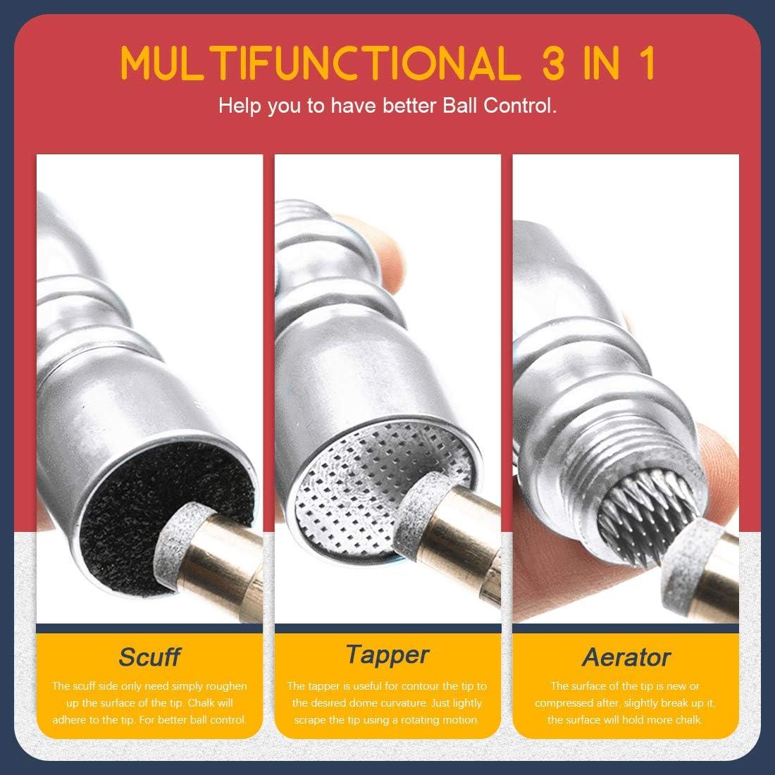 Hilitchi Multifunction Bowtie Snooker Billiard Pool Cue Tip Stick Shaper Repair Tools Aerator Scuffer Shaper 3 in 1 Tool