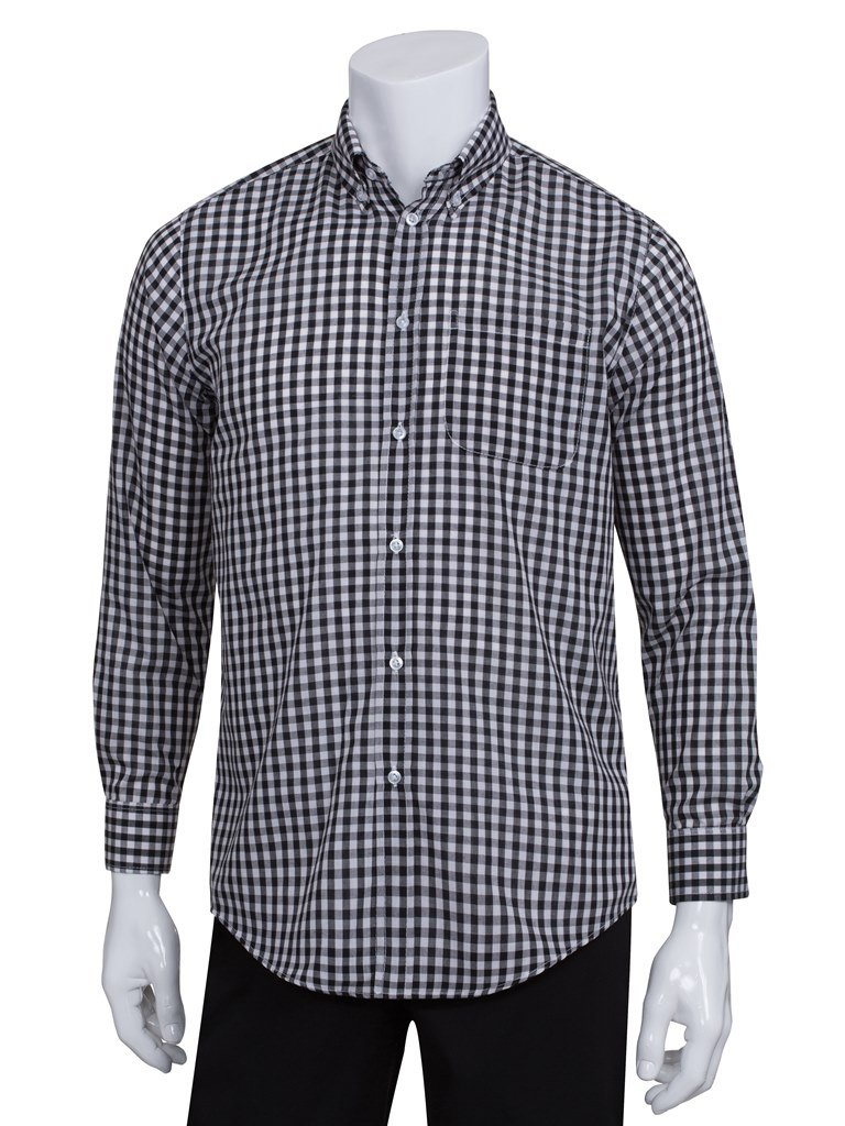 Chef Works Men's Uniforms Mens Gingham Dress Shirt, Black Gingham, Medium