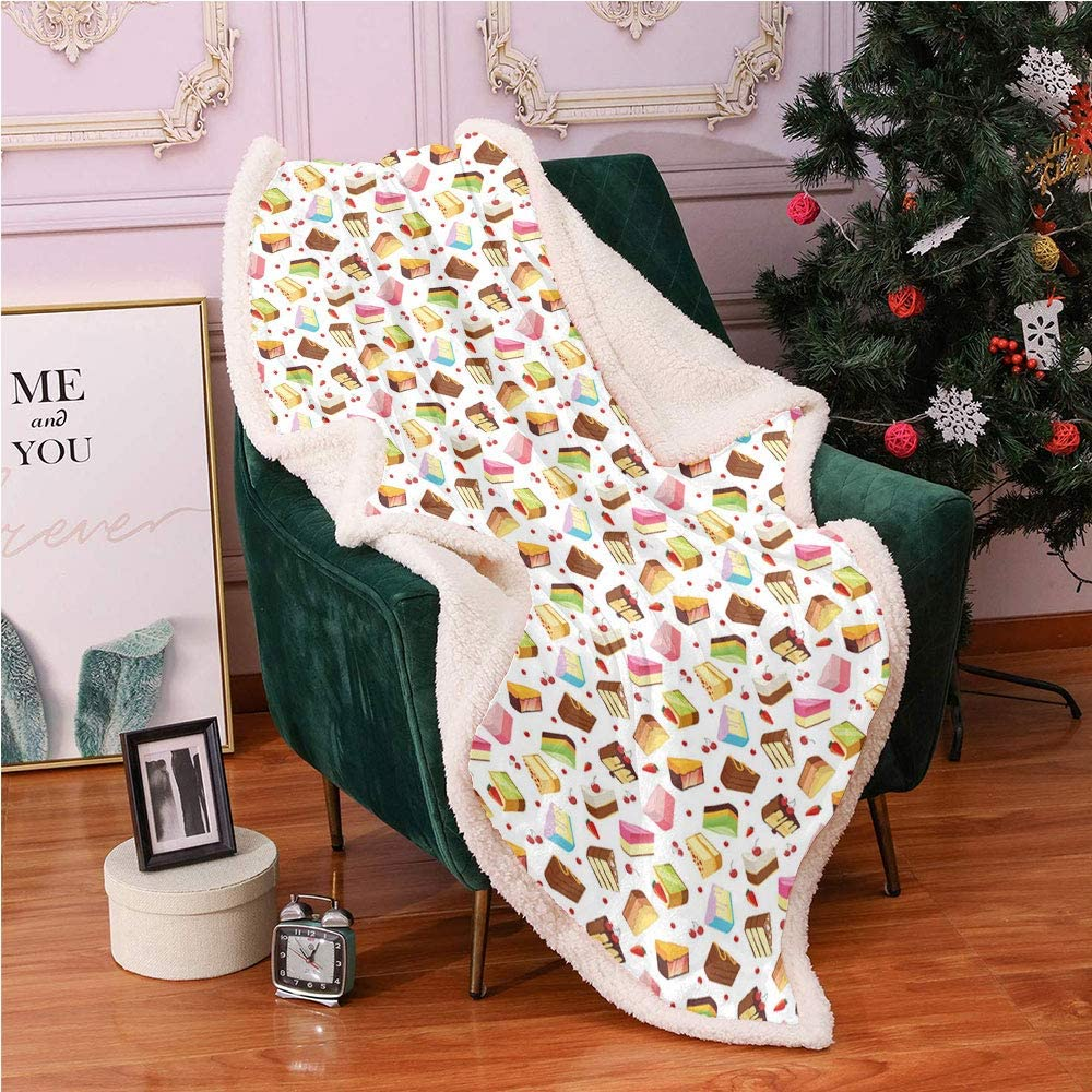 SeptSonne Dessert Fleece Throw Blanket,Food Cartoon with Tasty Colorful Triangular Cake Slices Cherry and Strawberries Blanket Small Quilt,for Couch Throw Blankets(50in x 60in,Multicolor)