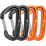 Favofit Carabiner Clips, 4 Pack, 12KN (2697 lbs) Heavy Duty Caribeaners for Camping, Hiking, Outdoor and Gym etc, Small…