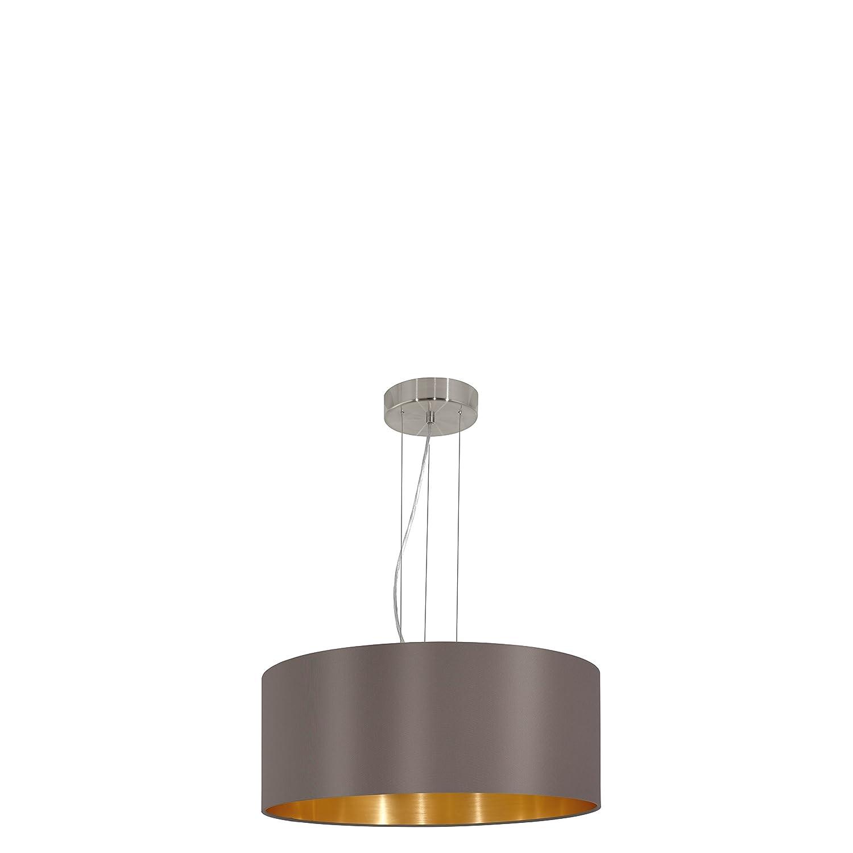 EGLO Hängeleuchte Maserlo Durchmesser 53cm Nickel-Matt Schirm Cappucino Gold Stahl E27, 53 x 53 x 110 cm