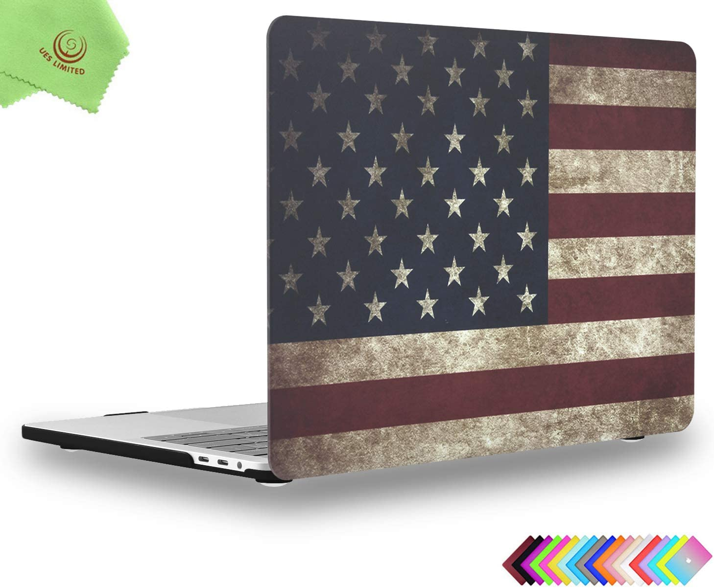 UESWILL MacBook Pro 13 inch Case 2019 2018 2017 2016, Model A2159/A1989/A1706/A1708, Matte Hard Case Cover for MacBook Pro 13 inch (USB-C) with/Without Touch Bar, US Flag