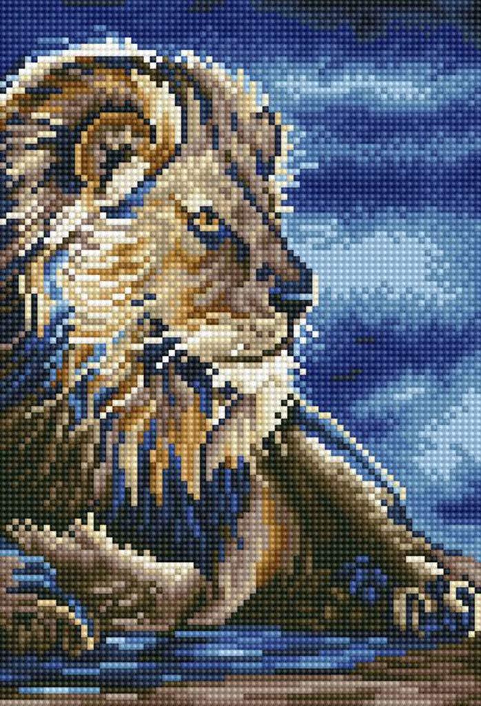 16x22 Brown Lion 5D Diamond Painting Kits Full Round DIY Cross Stitch Pattern Rhinestone Embroidery Kits Arts Craft Wall Sticker