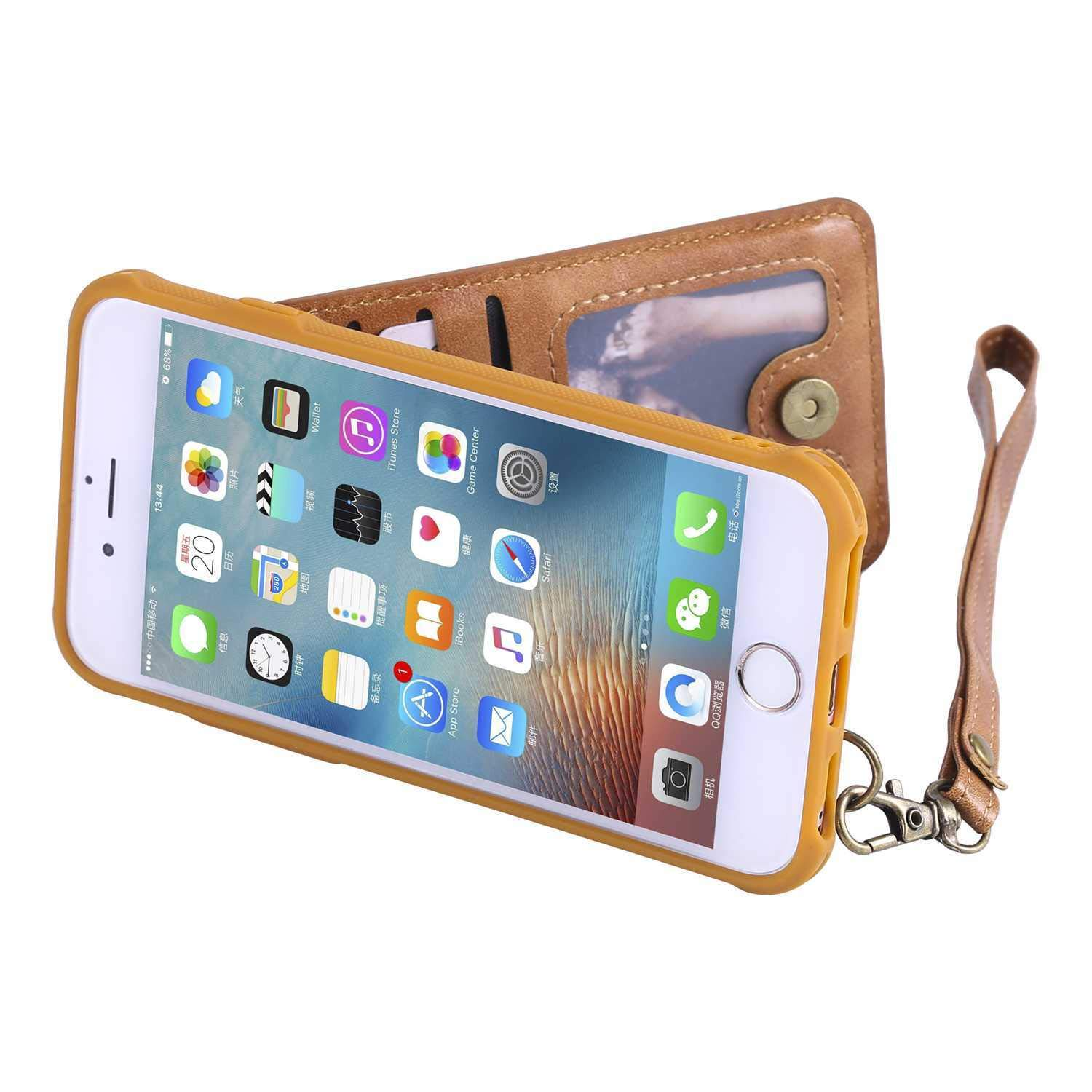 PU Leather Wallet Case Blue CUSKING iPhone 6 // iPhone 6s Case Premium Magnetic Stand Bumper Case with Card Holder and Hand Strap for Apple iPhone 6 // iPhone 6s
