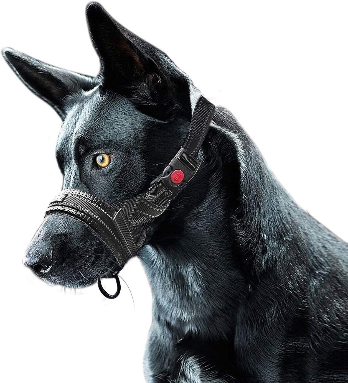 Bozal de Nylon para Perros, Ajustable Lazo Bloqueo de Seguridad Franja Reflectante Bozal - L