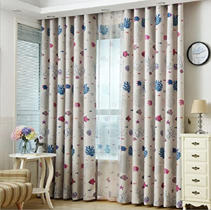 Etonnant Beige Cartoon Curtains For Kids Bedroom Oceans And Fish Home Decor Grommet  TopThermal Insulated Semi Blackout