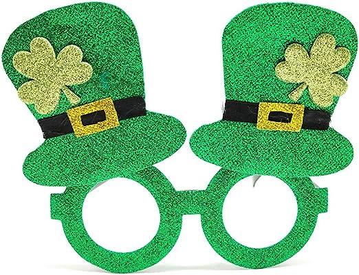 ENCOCO - Gafas de Sol de trébol irlandés, trébol Verde, anteojos ...