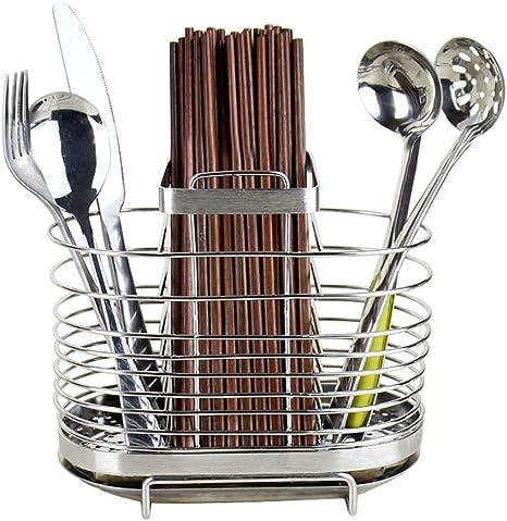 1× Stainless Steel Chopsticks Holder Cutlery Drainer Kitchen Organizer Rack .