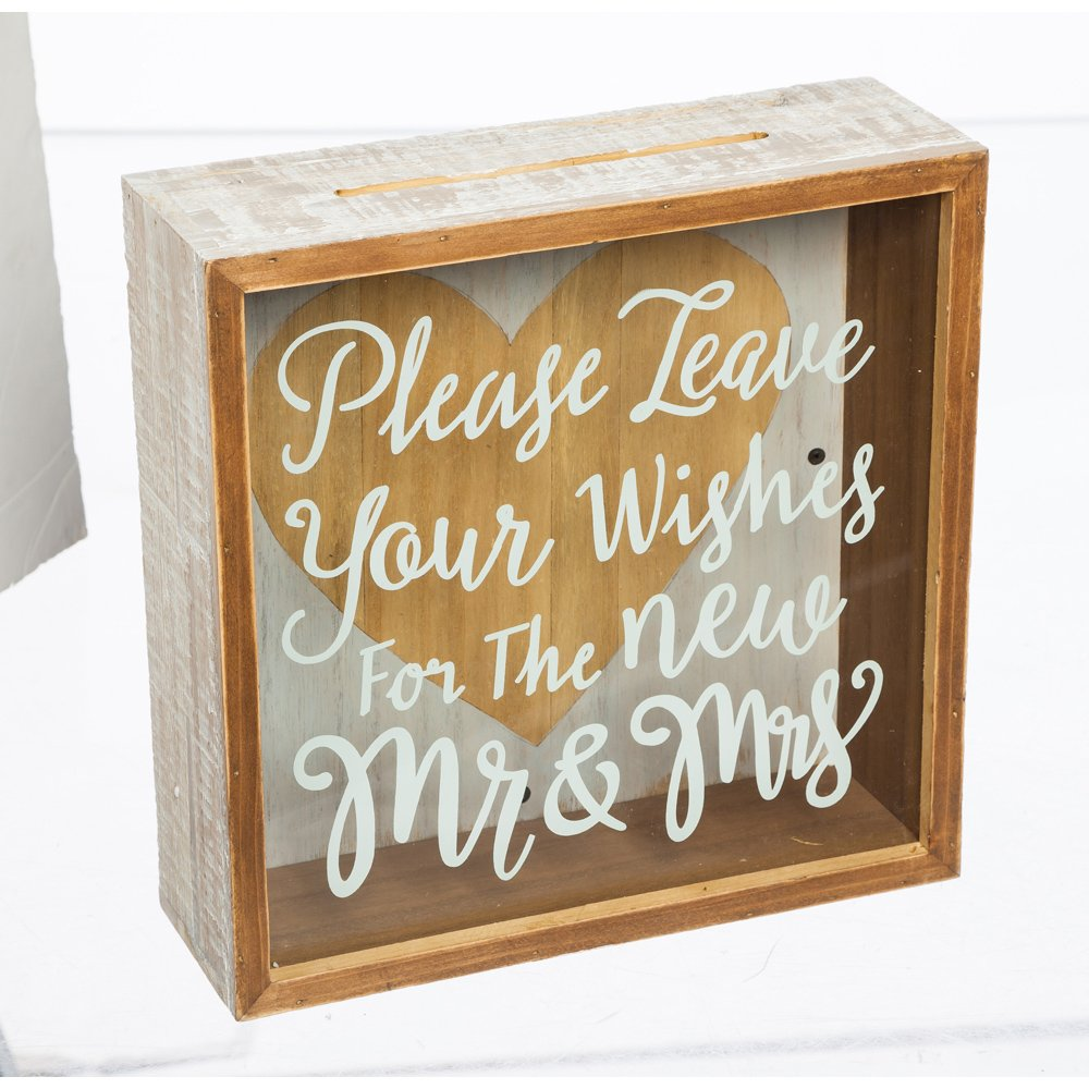 Cypress Home Wishes for The Mr. & Mrs. Wooden Shadow Card Box