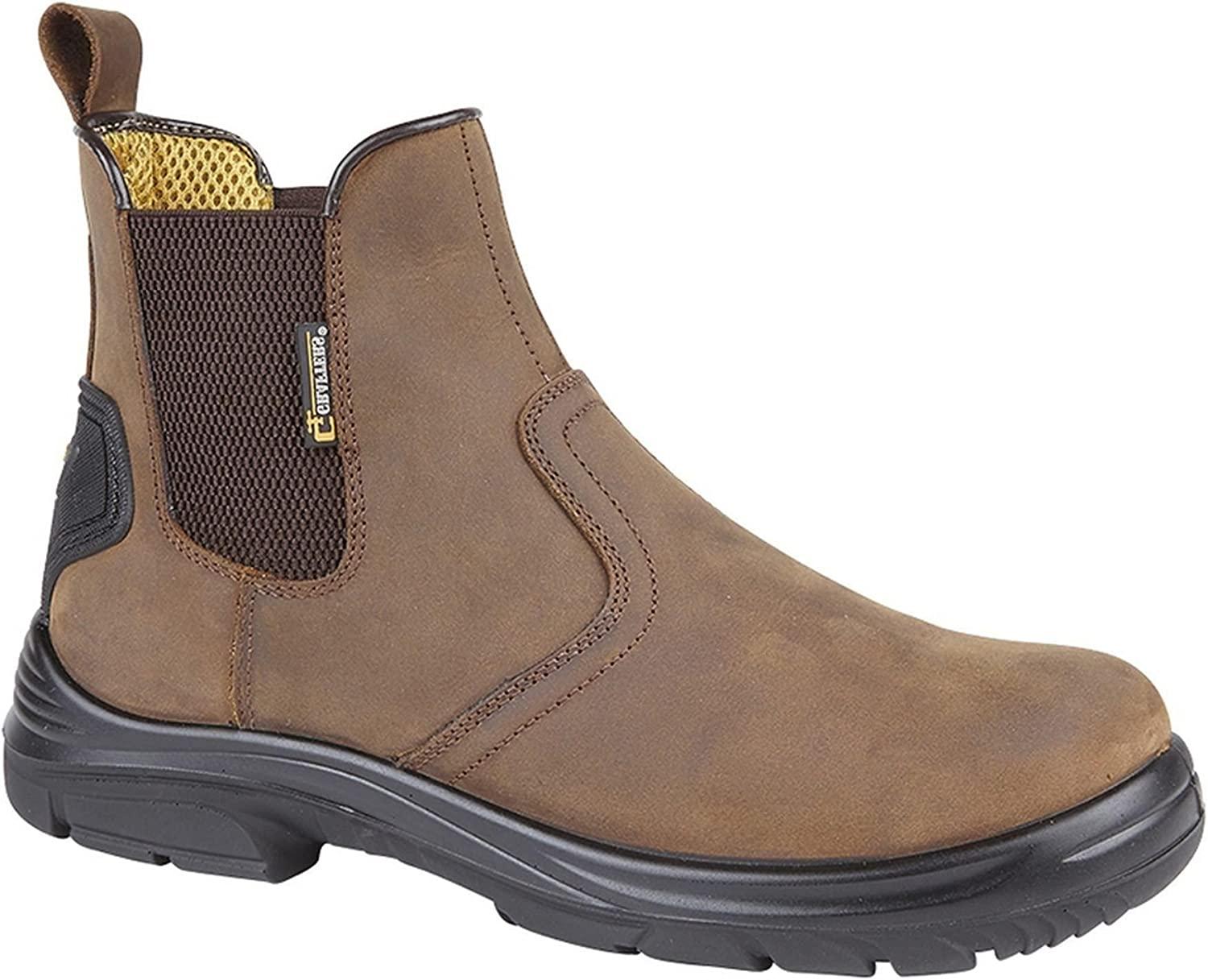 Mens Groundwork steel toe safety work slip pull on chelsea ankle dealer boots