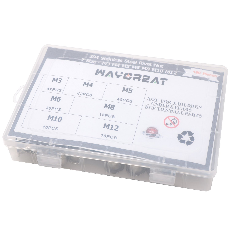 189-pack Waykino 304 Nietmutter Edelstahl Sortiment,Rivet nut Nutsert Kit M3 M4 M5 M6 M8 M10 M12