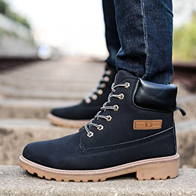 c587c21460d Gyoume Men Calf Boots Winter Lace Up Boots Shoes Male Ankle Boots Dress  Shoes Hiking Boots