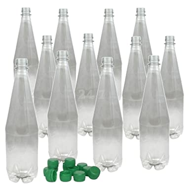 Plastic Beer Wine Bottles & caps 1 Litre (2 pint) 12pk PET Clear Youngs  Homebrew