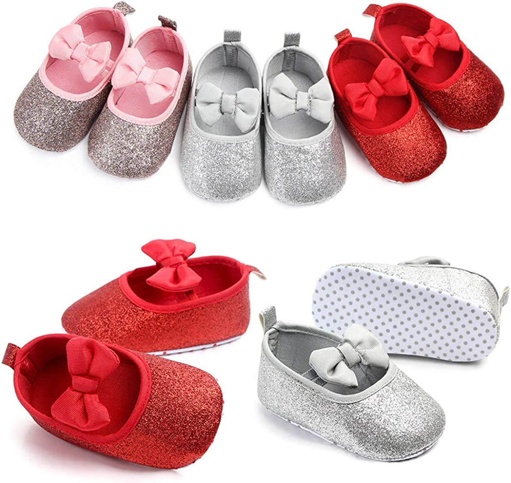 Togudot Infant Baby Girls Mary Jane Flats with Bownot Toddler First Walkers Crib Shoes 0-18 Months