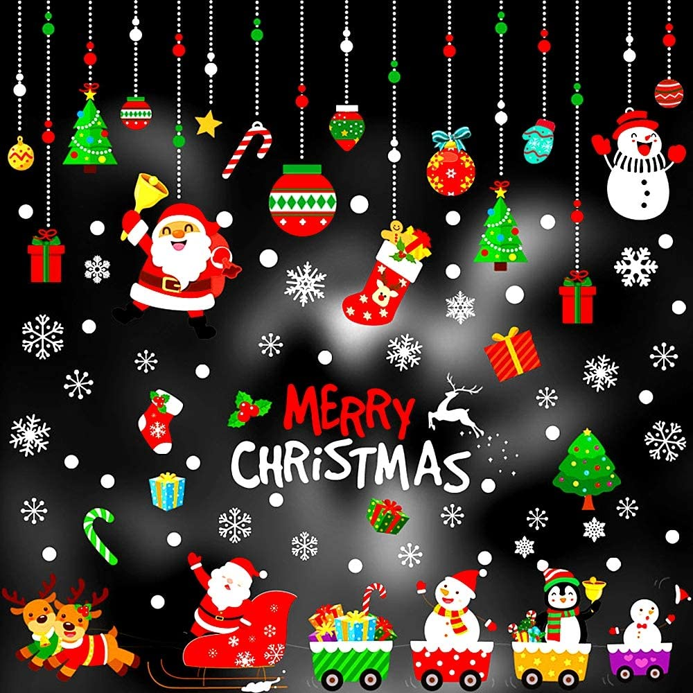 Christmas Decorations Window Clings Large Stickers for Glass Party Supplies Gift Idea Xmas Decor Decals Holiday Snowflake Reindeer Snowman Christmas Tree Stocking Size of Santa Claus is 7.5in.