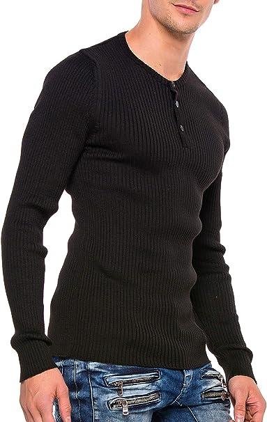 bordado Jersey de punto para hombre Cipo /& Baxx bicolor cuello redondo manga larga