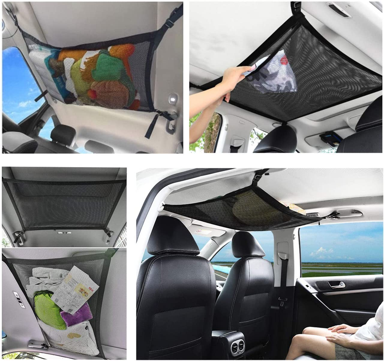 Black Car Ceiling Cargo Net Pocket,Universal Adjustable 2-Layer Car Roof Interior Sundries Storage Pouch with Zipper,Universal for Car SUV Truck Sundries Storage Pocket with Car Seat Hooks