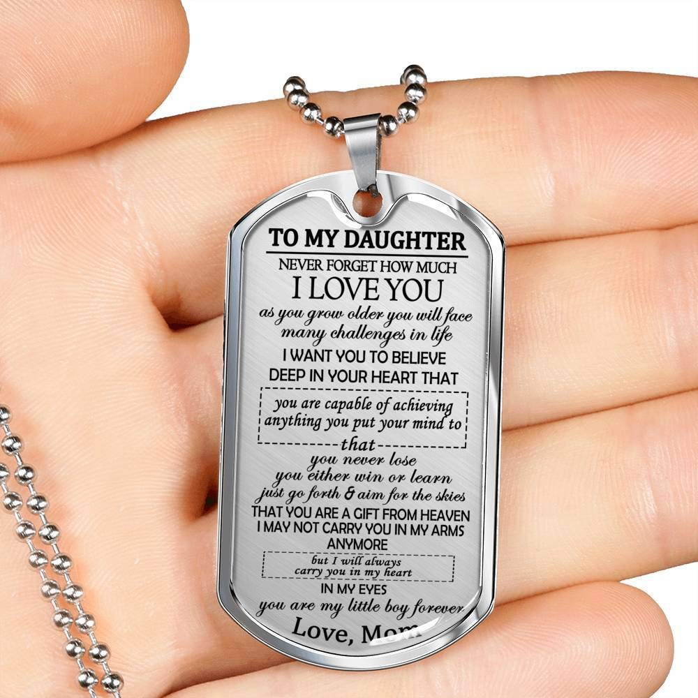 to My Daughter I Love You Dog Tag Pendant Mom to Daughter Necklace Gift On Birthday Christmas New Year Presents