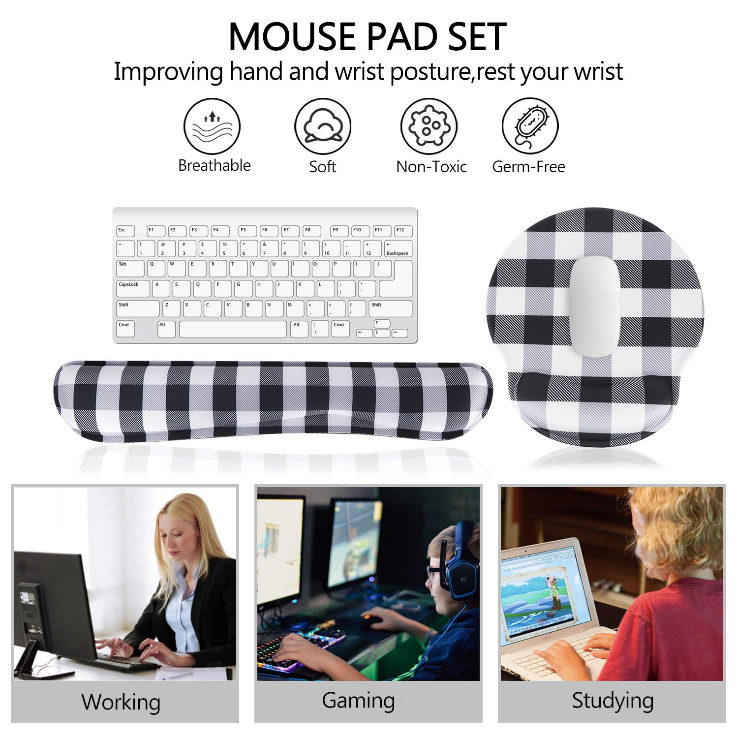 Wildflowers HAOCOO Ergonomic Keyboard Wrist Rest Pad and Mouse Pad Wrist Support Set with Non-Slip Backing Memory Form-Filled Easy-Typing and Pain Relief for Gaming Office Computer Laptop