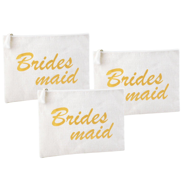 ElegantPark Bridesmaid Clutch Bag Wedding Bridal Shower Gift Handbag Zip White with Gold Script 100% Jute 3 Pcs by ElegantPark (Image #1)