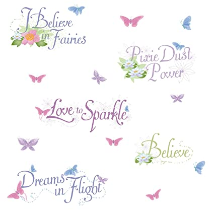 Roommates Rmk1515Scs Disney Fairies Glitter Phrases Peel u0026 Stick Wall Decals  sc 1 st  Amazon.com & Amazon.com: Roommates Rmk1515Scs Disney Fairies Glitter Phrases Peel ...