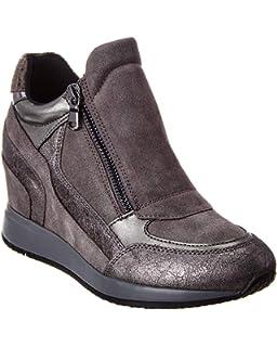 Grigio Pelle Geox D Eleni C amazon shoes grigio Tinta unita