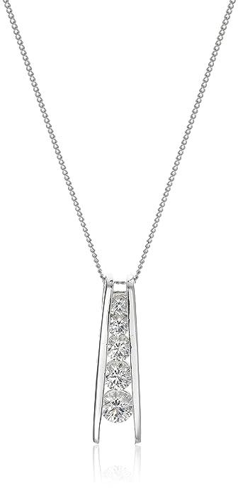 Amazon sterling silver swarovski zirconia journey pendant sterling silver swarovski zirconia journey pendant necklace 18quot aloadofball Image collections