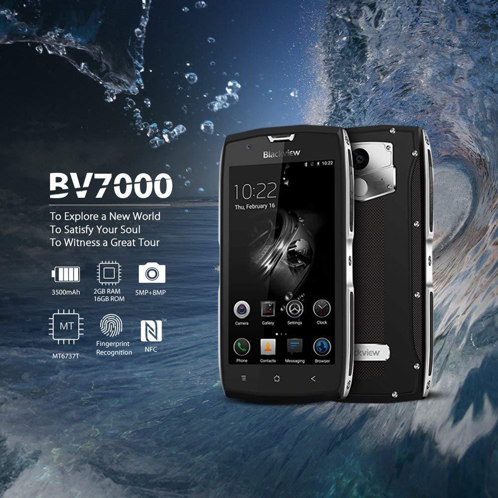 Móvil Antigolpes, Blackview BV7000 Android 7.0 Smarthphone Libre, IP68 Resistente, 3500mAh Batería, 5.0
