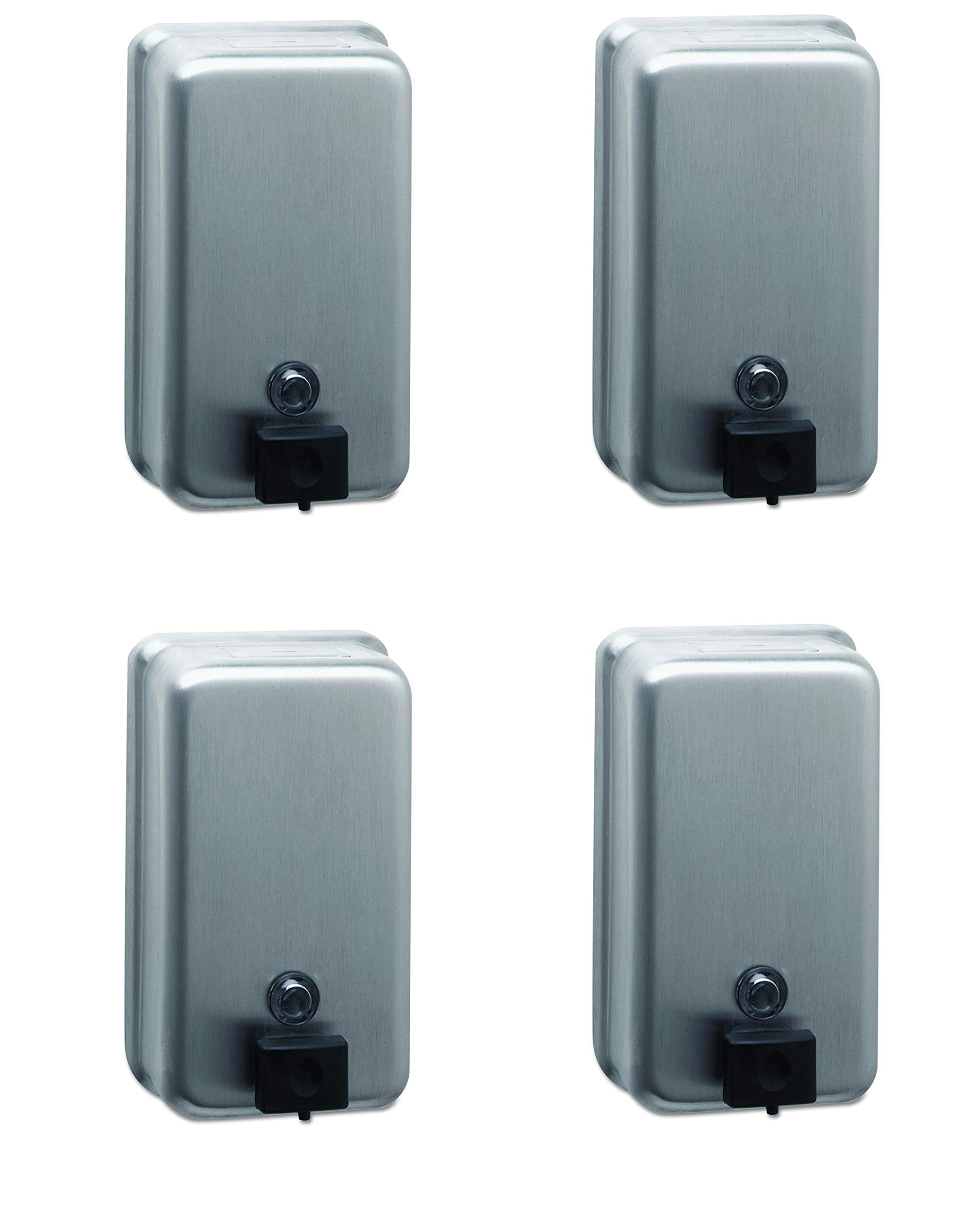 Bobrick 2111 ClassicSeries Surface-Mounted Soap Dispenser, 40oz, Stainless Steel (Pack of 4)