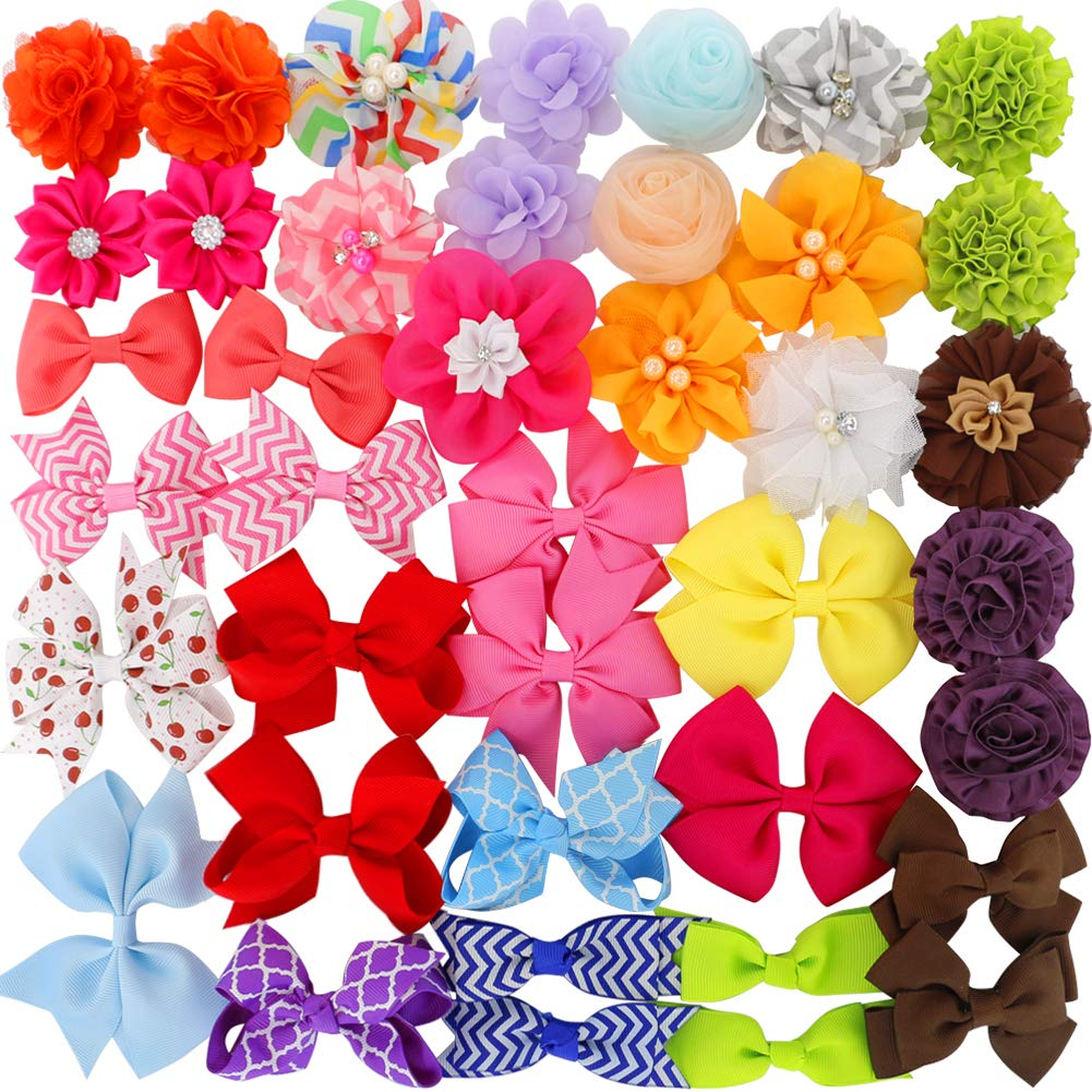 Grosgrain Ribbon Hair Bows Boutique Flowers Clips For Girls Teens Kids Toddlers Set Of 40
