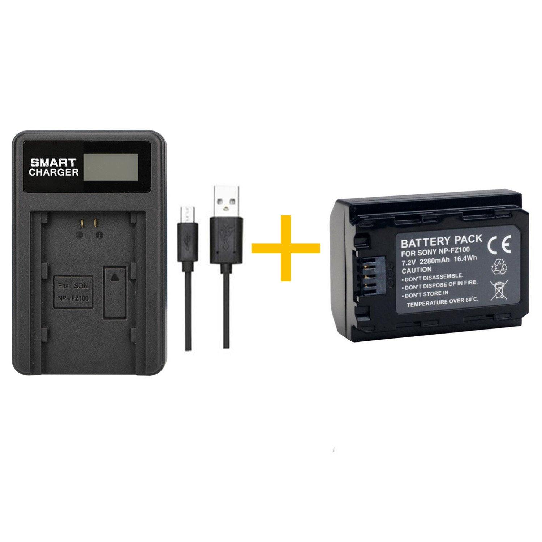 1 piezas 2280mAh NP-FZ100 NP FZ100 Batería de la cámara con cargador de batería para Sony NP FZ100 y cámara ILCE-9 A7RIII A7R3 A9 7RM3 (1 pcs battery ...