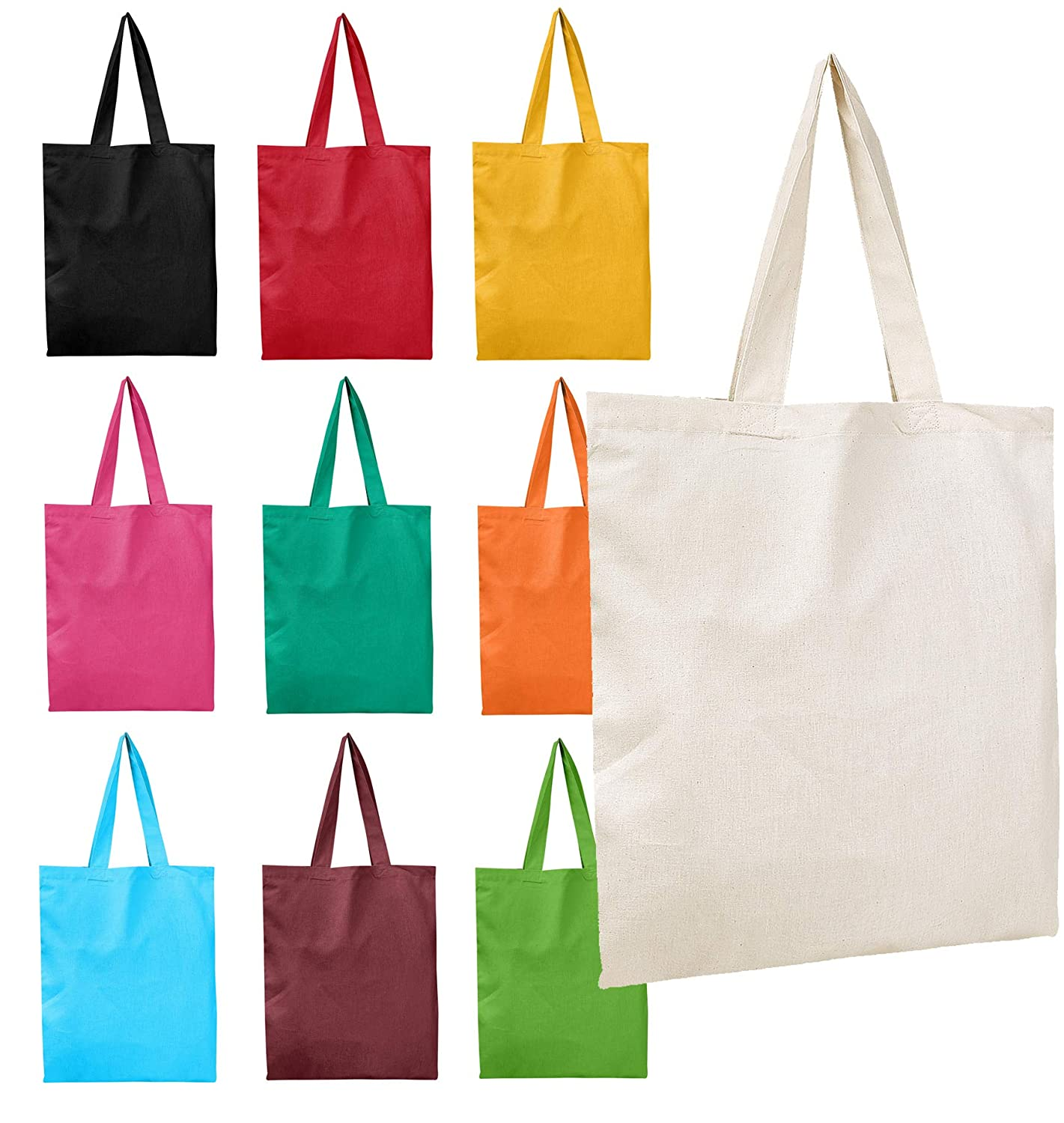 2 DOZEN (24-PACK) BagzDepot 100% Cotton Tote Bags, 6oz  Fabric Flat Bottom  Wholesale Plain Tote Bags, Reusable Grocery Bags, Arts and Craft Bags