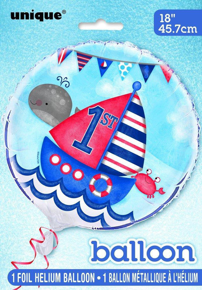 Unique Party- Platos de Papel Fiesta de Primer Cumpleaños de Niños Náuticos, 8 Unidades (58175)