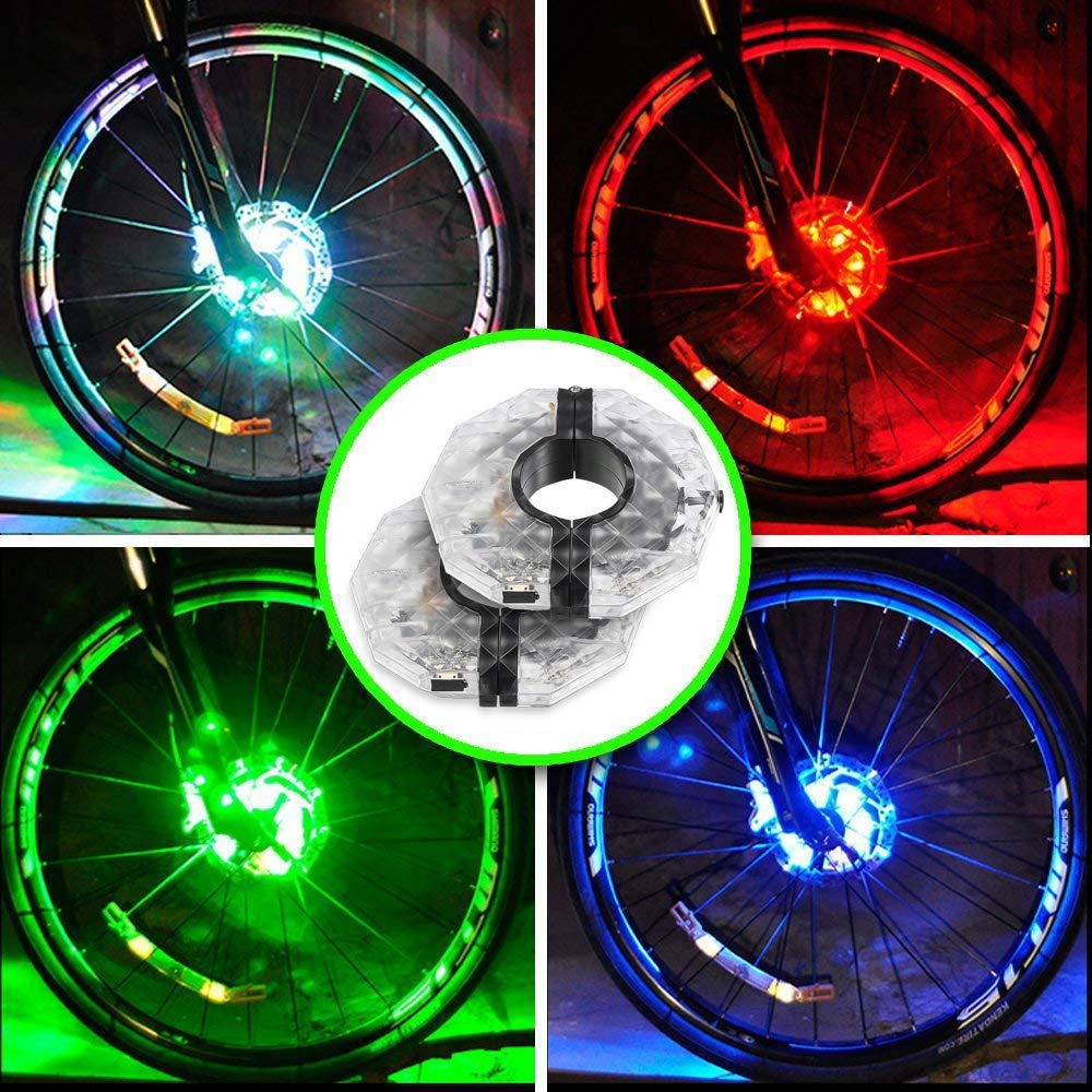 Alritz Rechargeable Bike Wheel Hub Lights, Waterproof 3 Modes LED Cycling Lights, RGB Colorful Bicycle Spoke Lights for Safety Warning and Decoration (for 2 Wheels)