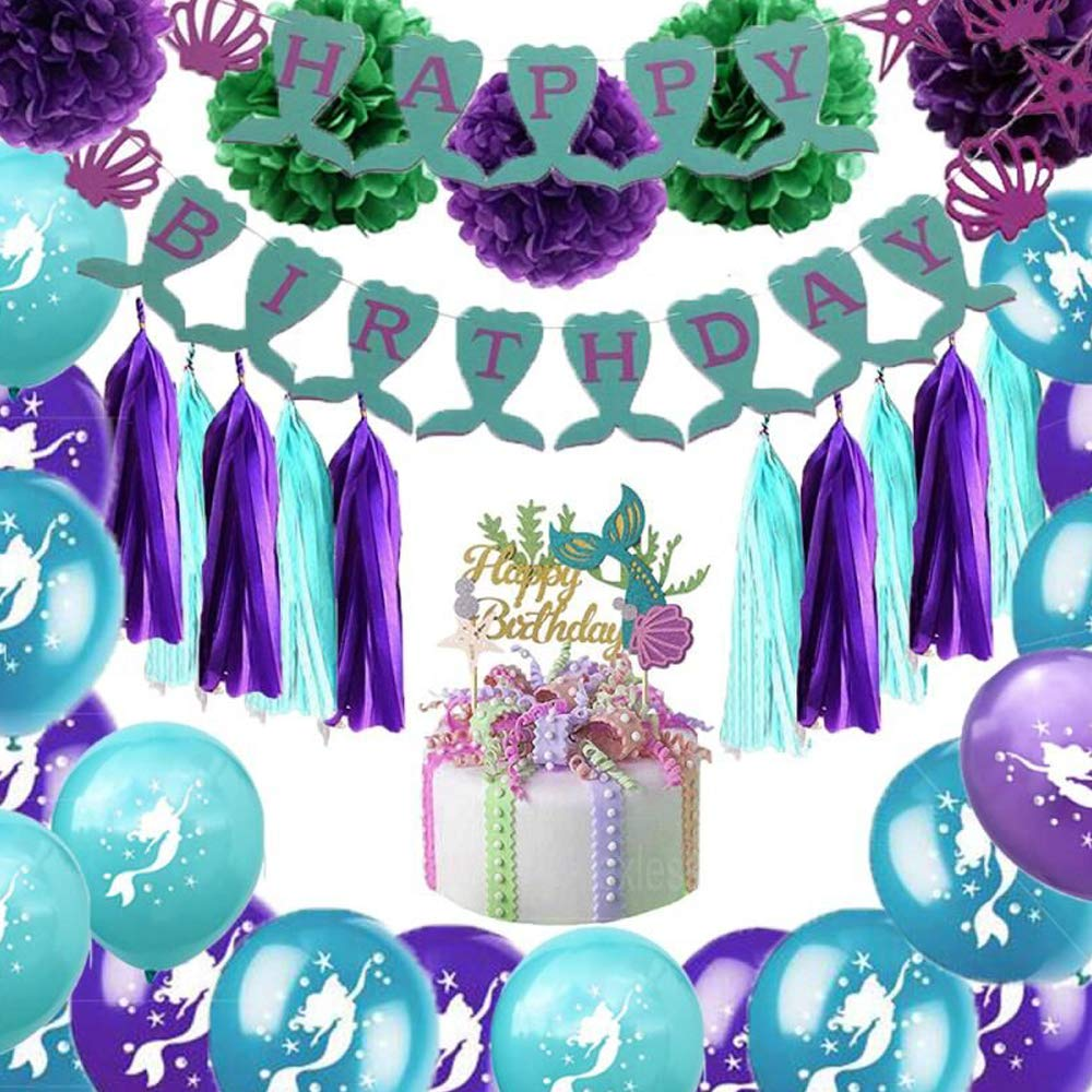 Mermaid Party Supplies And Decorations Kit Birthday Banners Tissue Tassels Pom Poms Flowers Paper