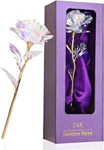 Rainbow Rose Flower Present 24K Golden Foil with Luxury Gift Box Great Gift Idea for Valentine's Day, Mother's Day, Thanksgiving Day, Christmas, Birthday, Anniversary