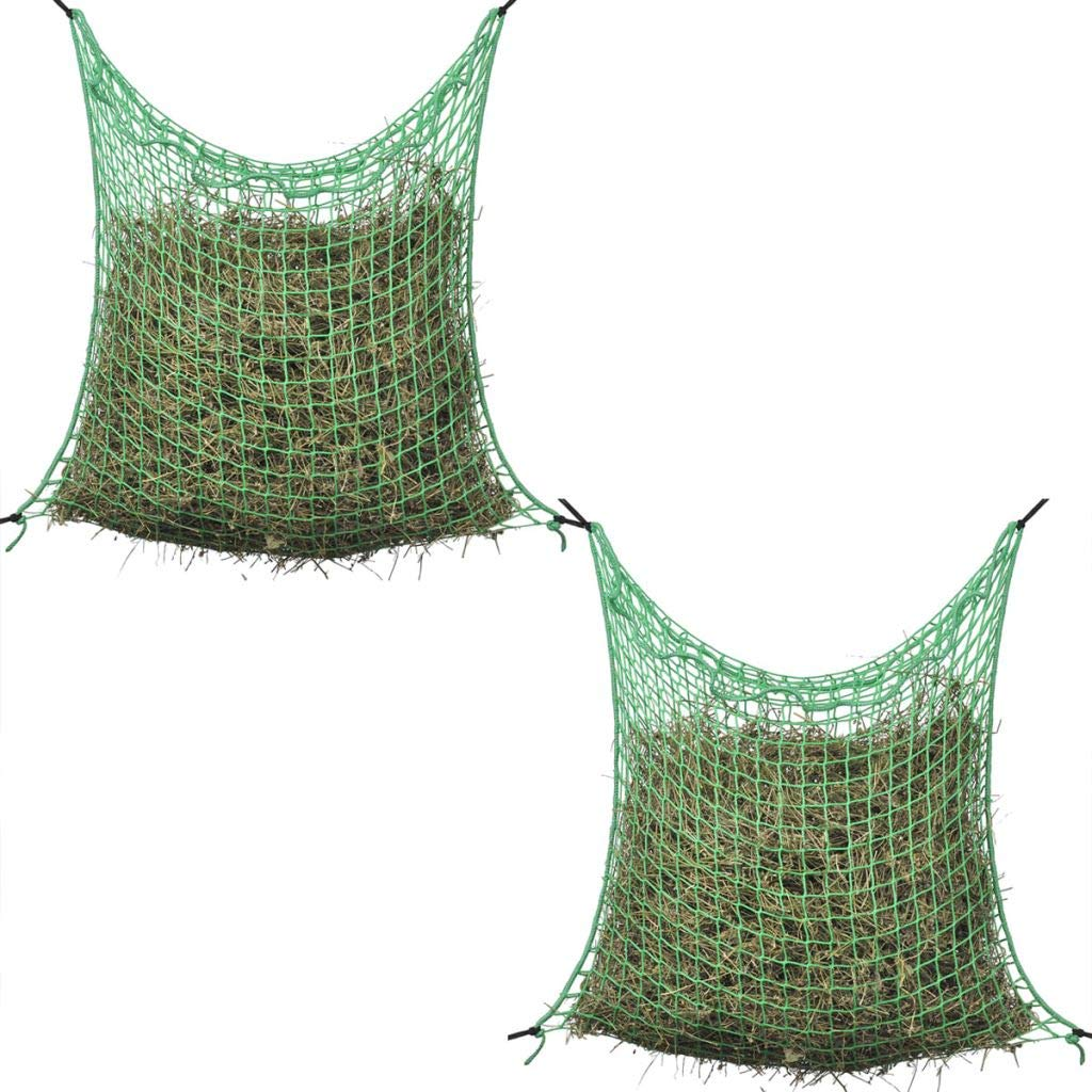Festnight 2 Pcs Hay Nets Square Haylage Net for Horse Pony - Green PP, 0.9x1.5 m