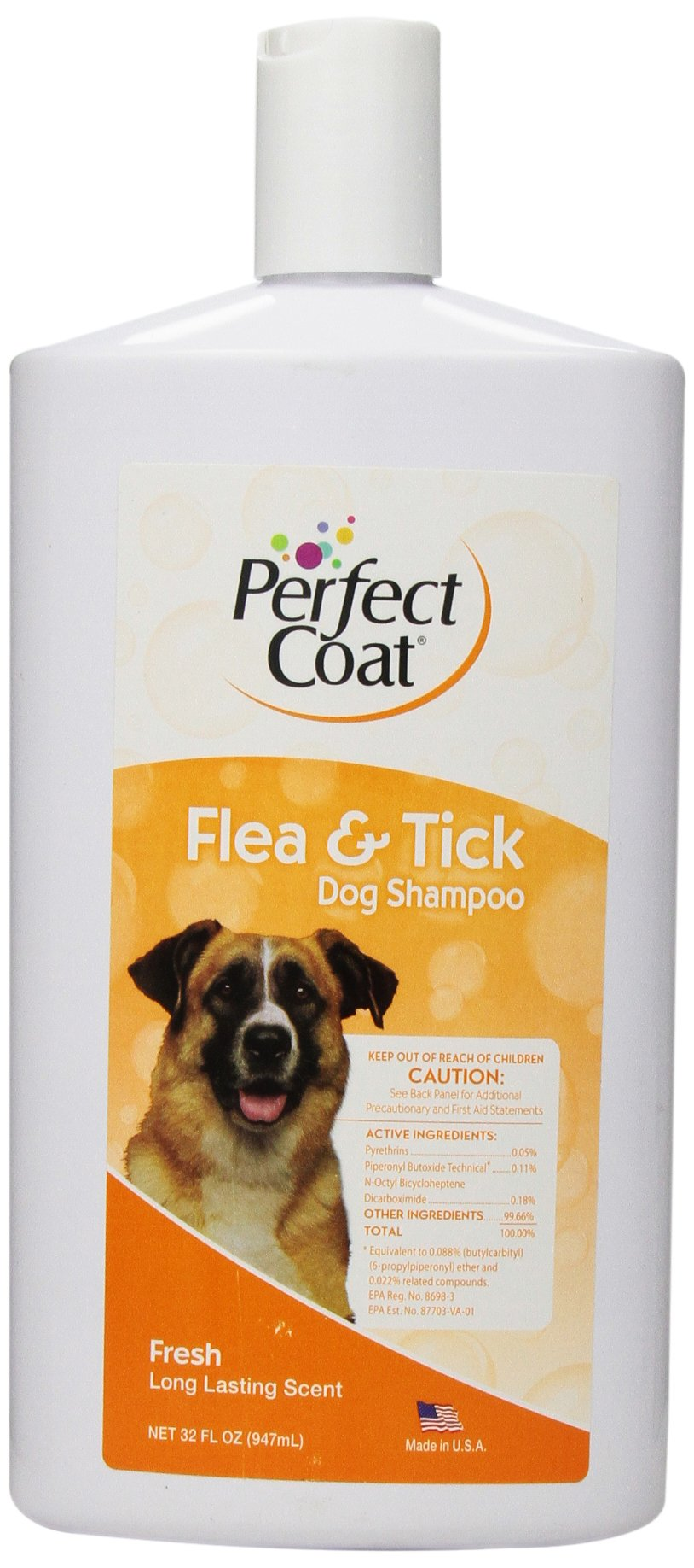 Perfect Coat Flea and Tick Shampoo for Dogs, Fresh Scent, 32-Ounce