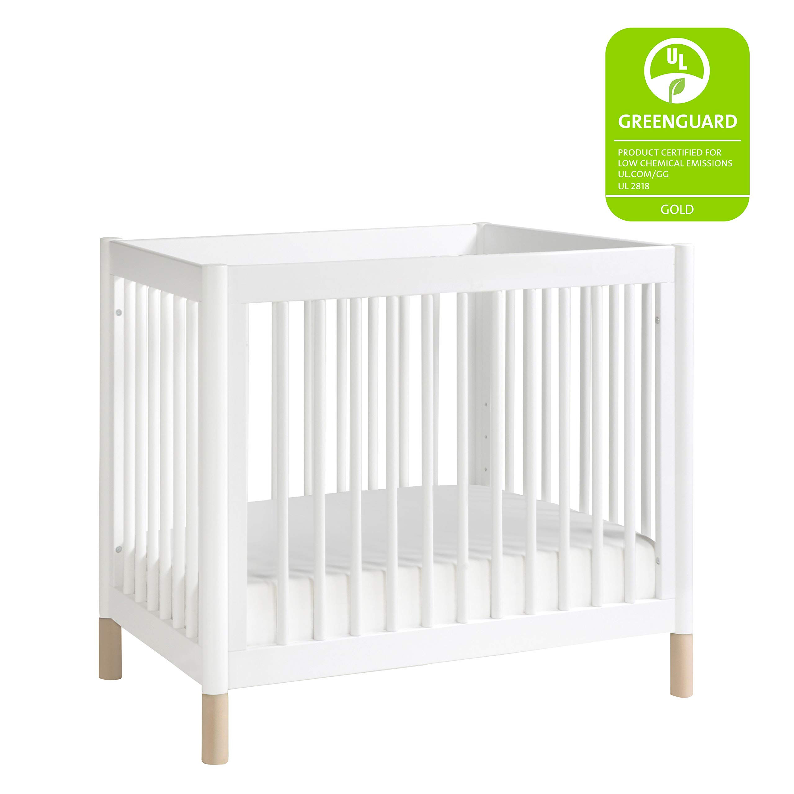 Babyletto Gelato 2-in-1 Mini Crib, White / Washed Natural by Babyletto