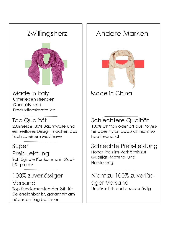 Zwillingsherz - Pañuelo de seda para mujer - Accesorio con diseño elegante - Apto como bufanda, braga de cuello, mantilla o chal rosa Talla única ...