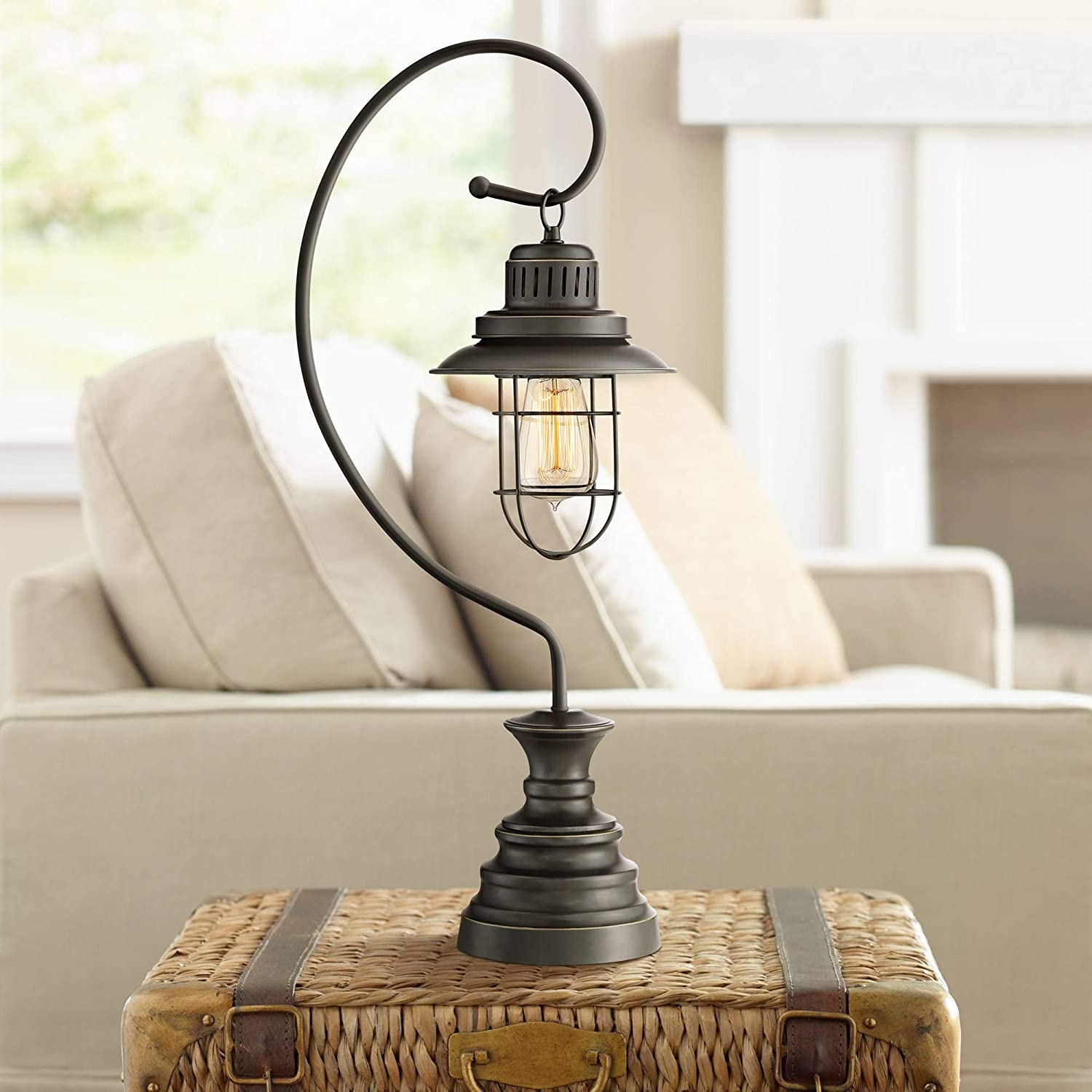 Ulysses Industrial Desk Table Lamp Dark Oil Rubbed Bronze Metal Wire Cage Shade Lantern for Living Room Bedroom Office