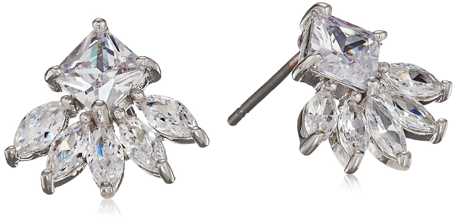 Cz By Kenneth Jay Lane Women's 2Cttw Multi Cz Ear Pierced Princess/Marquis Fringe Stud Earrings, Clsi, One Size