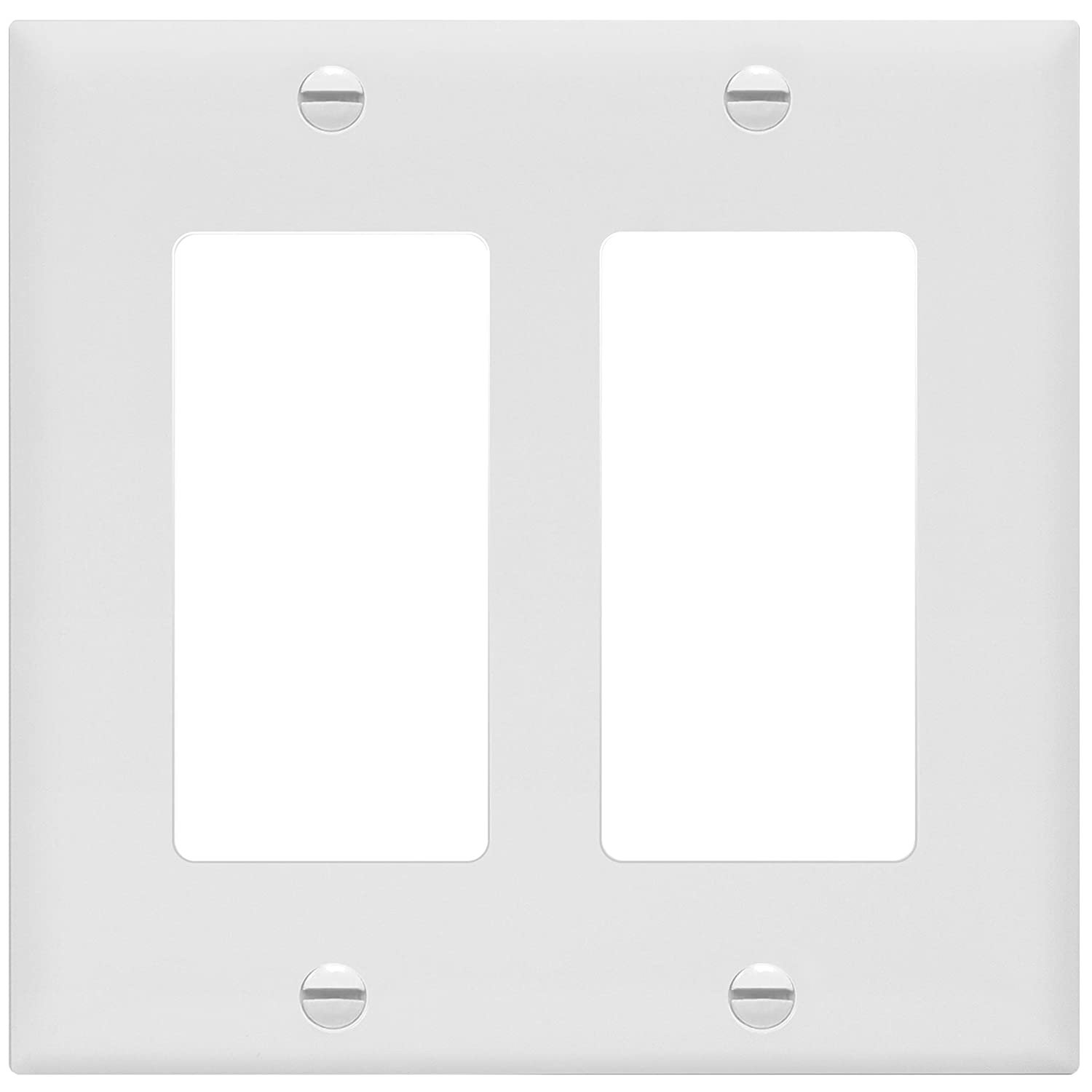 "ENERLITES Decorator Light Switch or Receptacle Outlet Wall Plate, Size 2-Gang 4.50"" x 4.57"", Unbreakable Polycarbonate Thermoplastic, UL Listed, 8832-W, White"
