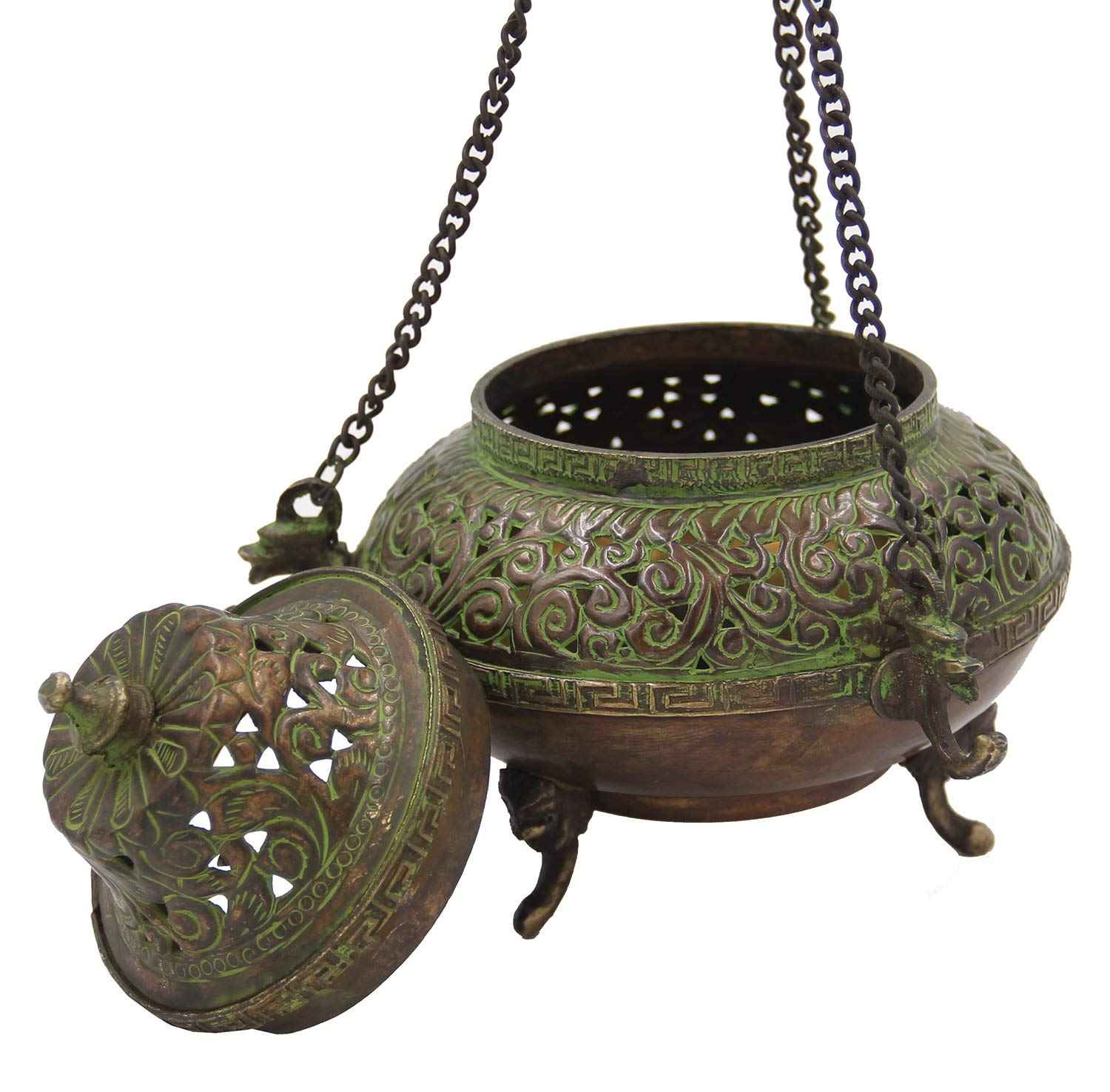 DharmaObjects Tibetan Traditional Hanging Incense Burner Copper (5.5 x 4.5 x 4.5 Inches, Hanging 7) by DharmaObjects (Image #2)