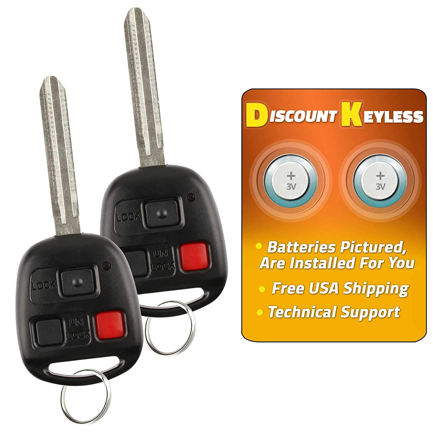 Discount Keyless Entry Remote Control Fob Replacement Uncut Car Ignition Key Fob For FJ Land Cruiser HYQ1512V 2 Pack
