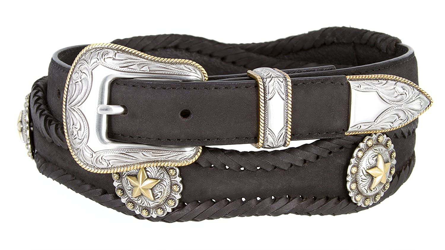 Golden Star Western Leather Conchos Belt 1 1//2 Wide