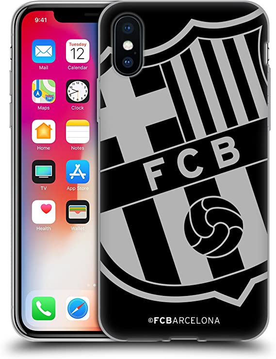 Amazon Com Head Case Designs Officially Licensed Fc Barcelona Oversized Crest Soft Gel Case Compatible With Apple Iphone X Iphone Xs